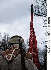 1918, katona, év, szovjet-, flag.