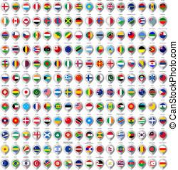 192, markierungen, von, papier, mit, fahne, für, landkarte