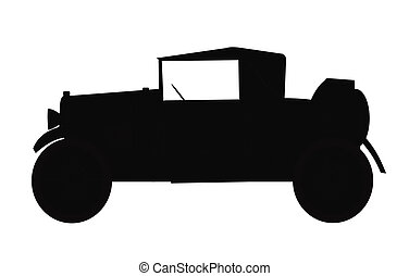 1920a roadster with rumble seat - vintage car in silhouette...