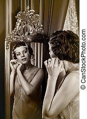 1920s, dama, lustro