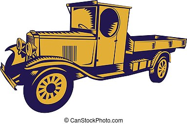 1920s Pick-up Truck Woodcut - Illustration of a vintage...