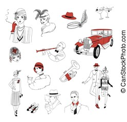 1920s retro collection. Vintage people and things....