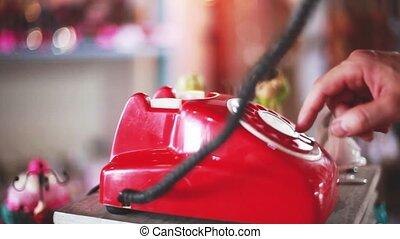 1920x1080, haut, vendange, répondre, rotatif, main, téléphone., retro, récepteur, téléphone, fin, cueillette, mâle, hd