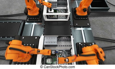 1920x1080., process., montage, entiers, convoyeur, animation., moderne, bras, cas, business, bande, automatisé, informatique, avancé, robotique, industriel, belt., technologie, concept., hd, 3d