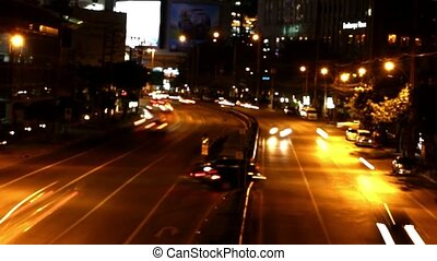 1920x1080., soir, city., timelapse, haut, bokeh, confiture, trafic, hd., vitesse, route