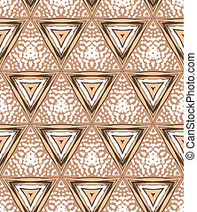 1930s Art deco geometric pattern with triangles and random...