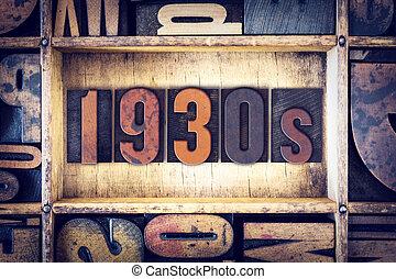 1930s, concetto, tipo, letterpress