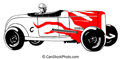 Classic 1930s roadster painting. Roadster is colored white with black tires and retro style red flames. Side view.