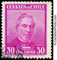 1934, 1861, estampilla, impreso, chile, -, perez, entre, 1934:, exposiciones, joaquim, jose, presidente, hacia, 1871
