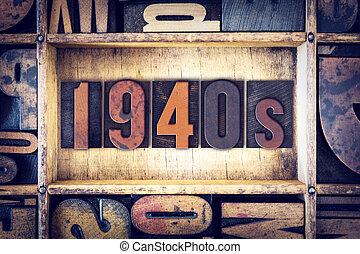 1940s, concetto, tipo, letterpress
