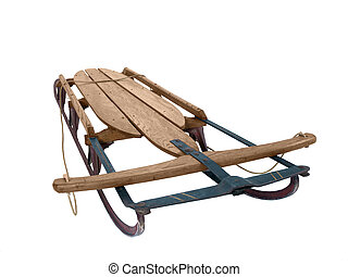 Large wooden snow sled from the 1940's.
