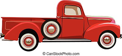 Vector graphic illustration design of a old classic truck.