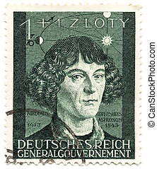 1943 year; 3rd Reich; Bohemia and Moravya - protectorate of Germany; Collectible old stamp of Nicolaus Copernicus