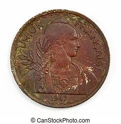 1947, antikvitet, sällsynt, mynt, av, frankrike