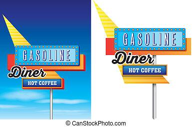 1950 mód, közül, amerikai, országúti, motel, hirdetés, elszigetelt, képben látható, egy, white háttér, vektor, felhasználható