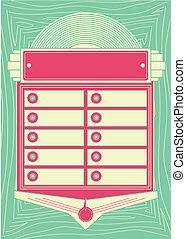 1950 mód, pénzbedobós gramofon automata, háttér, és, keret