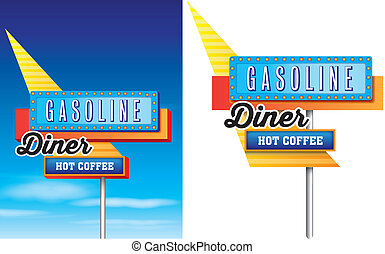 1950s סיגנון, של, אמריקאי, שפת כביש, מלון נוסעים, לפרסם, הפרד, ב, a, רקע לבן, וקטור, ניתן להשיג