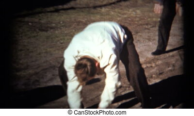 (1950's 8mm Vintage) Guys Playing - Men goofing around with...