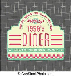 1950s, diner, estilo, logotipo, desenho