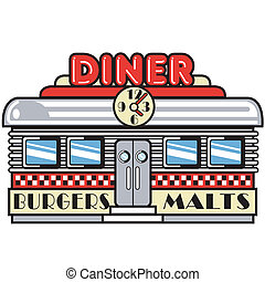 1950s fifties style diner, restaurant, burger joint or car hop with burgers and malts sign in retro or vintage cartoon style.