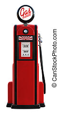 A 3d rendered red 1950's era gas pump