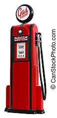 1950s gas pump - A 3d rendered red 1950's era gas pump