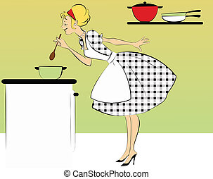 1950s housewife cooking dinner - A cute woman in a 1950s...