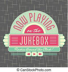 1950s, jukebox, estilo, logotipo, desenho