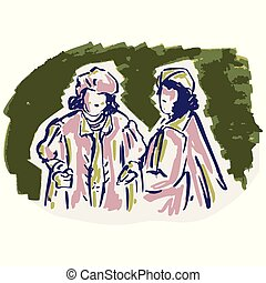 1950s ladies fashion illustration. Hand drawn loose lineart style of retro fifties vintage woman model clip art.
