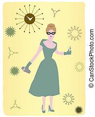 1950s, nő, ivás, koktél, abstr