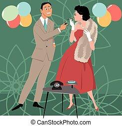 1950s party scene - Gentlemen lighting cigarette for a lady...