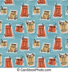1950s Retro Mid-Century Seamless Pattern - Colourful...