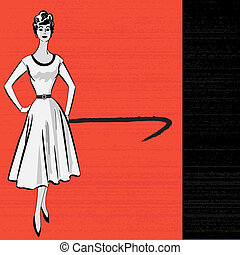 1950's, stle, retro, messaggio, fondo, con, uno, elegante, signora