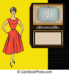 1950's, stle, retro, televisione, fondo, con, uno, elegante, signora