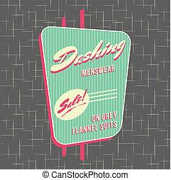 1950s, storefront, estilo, logotipo, desenho