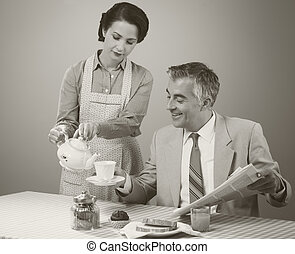 1950s style couple having breakfast - 1950s beautiful woman ...