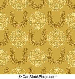 1950s Style Retro Daisy Flower Seamless Vector Pattern. Folk Floral.
