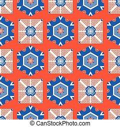 1950s Style Retro Daisy Polka Dot Seamless Vector Pattern. Folk Flower