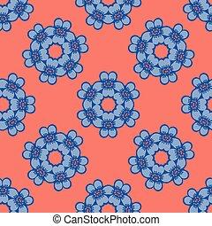 1950s Style Retro Daisy Polka Dot Seamless Vector Pattern. Folk Flower Hand Drawn