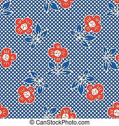 1950s Style Retro Daisy Polka Dot Seamless Vector Pattern. Folk Flower Hand Drawn Summer