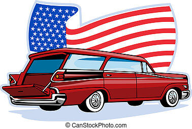 1950\'s styled station wagon flag - graphic design...