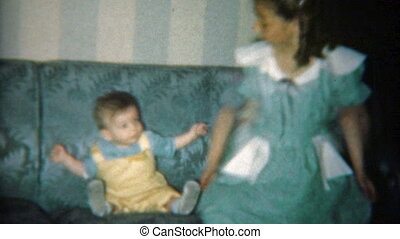 1951: Big sister and brother posing - Vintage 8mm film home...