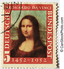 1952 German stamp of the Mona Lisa, marking the 500th...
