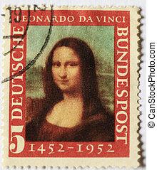1952, német, bélyeg, közül, a, mona lisa, jelzés, a, 500th,...