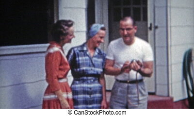 1953: Family laughing about advance - Unique vintage 8mm...