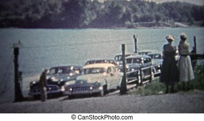 1954:, usa, tennessee, voiture, -, ferry-boat