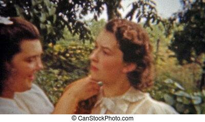 1956: Bride helping maid pin - Original vintage 8mm film...