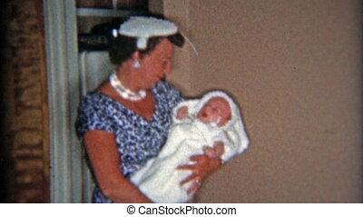 1957:, moeder, in, blauwe , mode, jurkje