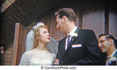 1957: Newlywed couple leaving - Original vintage 8mm film...