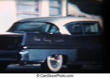(1958), voiture, vieux, hiver, conduite